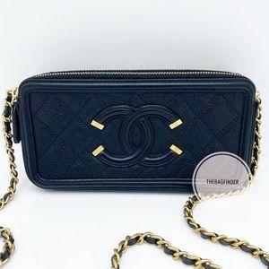 Chanel Filigree Wallet On Chain Caviar